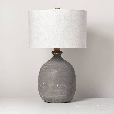 resin table lamp gray includes led light bulb hearth hand with magnolia