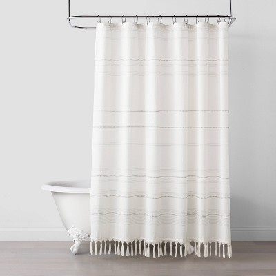 woven stripe knotted fringe shower curtain hearth hand with magnolia