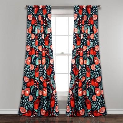set of 2 84 x52 poppy garden room darkening window curtain panels navy coral lush decor