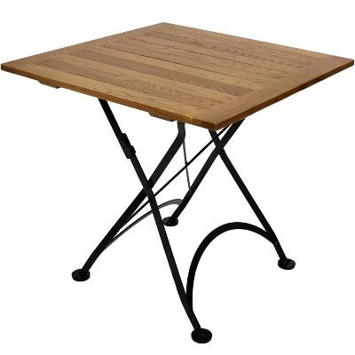 sunnydaze indoor outdoor european chestnut wood portable folding square patio bistro table 31 brown