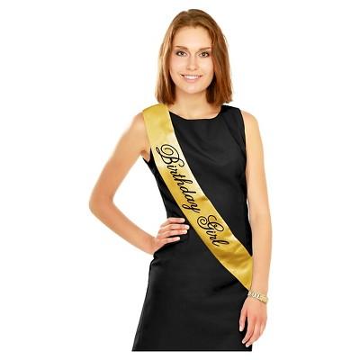 Black Gold Birthday Girl Sash Target