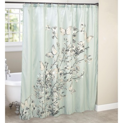 lakeside fabric shower curtain cherry blossom and butterfly aqua and grey