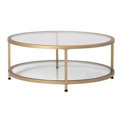 38 camber modern glass round coffee table gold studio designs home