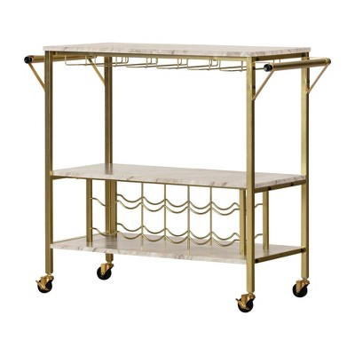 maliza bar cart with wine bottle storage and wine glass rack gold south shore