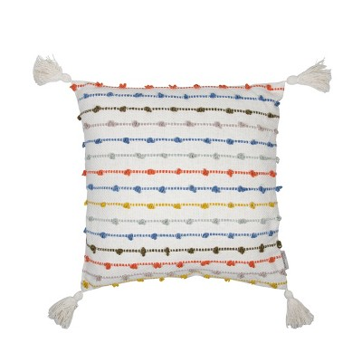 multicolor 20 x 20 inch decorative cotton throw pillow cover with insert and hand tied chenille knots foreside home garden