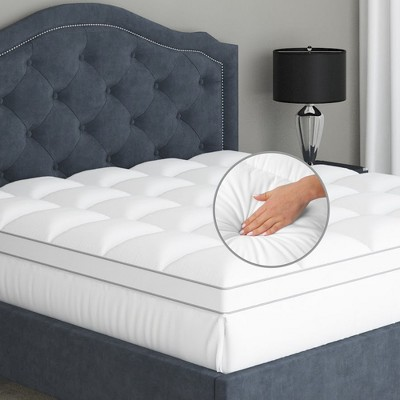 100 cotton pillow top luxury mattress topper soft and cool optimum thickness with down alternative fill 18 deep pocket skirt