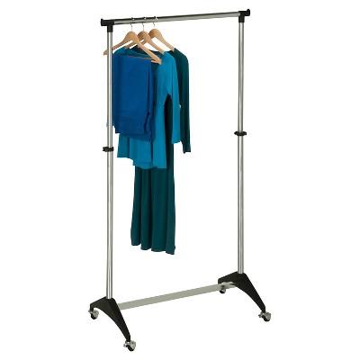 honey can do adjustable rolling garment rack chrome