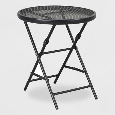18 steel mesh patio folding table threshold