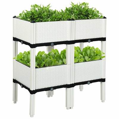 costway set of 4 raised garden bed elevated flower vegetable herb grow planter box white