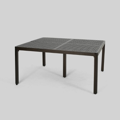 tahoe square aluminum modern woven accent patio dining table black christopher knight home