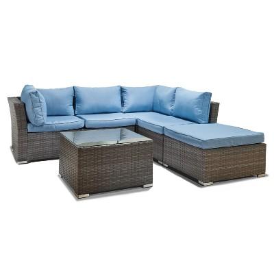 jicaro 5pc wicker sectional sofa set gray with light blue cushions thy hom