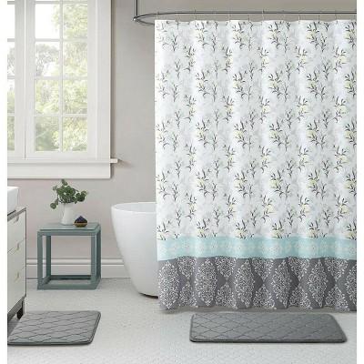 kate aurora yellow gray damask cherry blossom fabric shower curtain