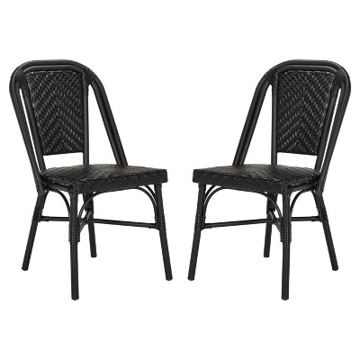 daria 2pk all weather wicker patio stackable side chair black safavieh