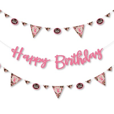 Big Dot Of Happiness Pink Gone Hunting Deer Hunting Girl Camo Birthday Party Letter Banner Decor 36 Banner Cutouts Happy Birthday Banner Letters Target