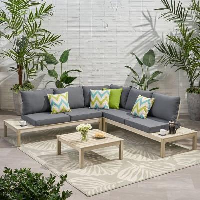 arlington 4pc acacia wood v shaped sectional sofa set weathered gray dark gray christopher knight home