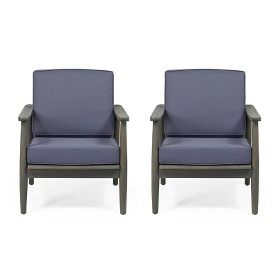 willowbrook 2pc acacia wood club chairs gray dark gray christopher knight home