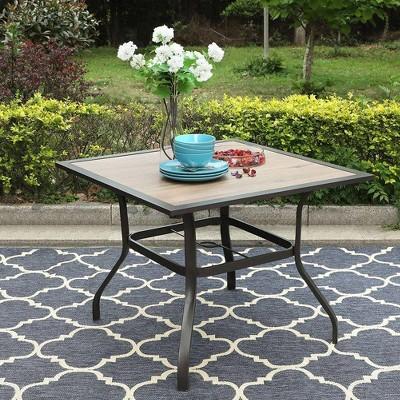 37 x37 square patio dining table with umbrella hole captiva designs