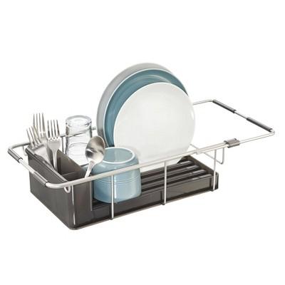 idesign metro aluminum over sink dish drainer silver