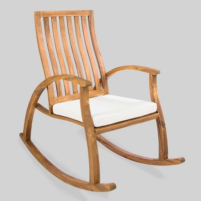 cayo acacia wood outdoor patio rocking chair natural cream christopher knight home