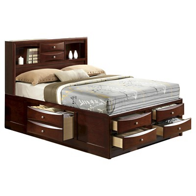 claire storage bed with bookcase headboard king rich espresso picket house furnishings