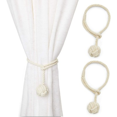 2 pack beige cotton window curtain tiebacks tie back 20 holdbacks rope for drapes