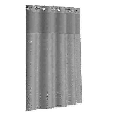 dobby texture shower curtain with liner gray hookless