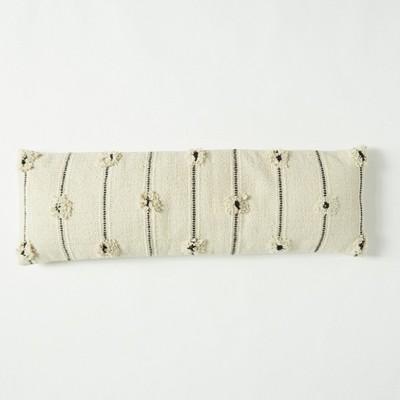 12 x40 tufted lumbar throw pillow natural black patina vie