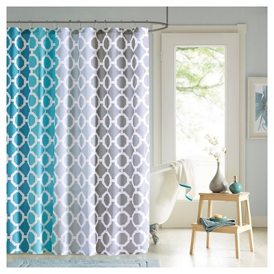 72 x72 shower curtain and hook set teal white
