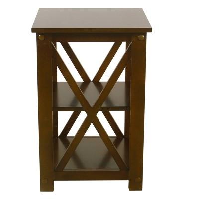 square wood accent table with shelf storage dark walnut brown homepop