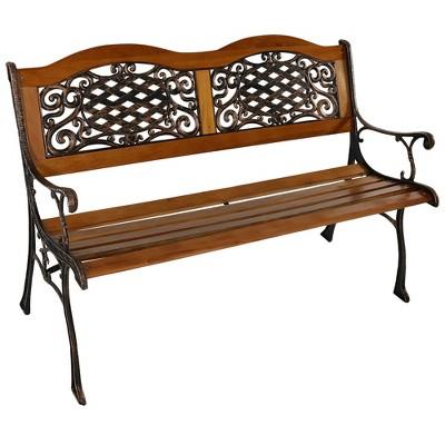 sunnydaze 2 person ivy crossweave design cast iron and wood frame outdoor garden bench