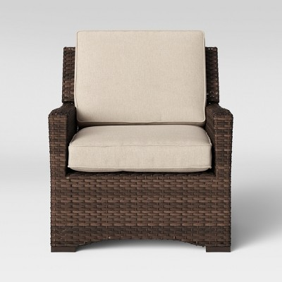 halsted all weather wicker outdoor patio club chair tan threshold