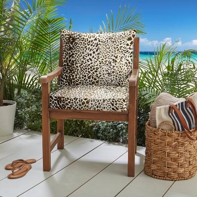 sunbrella 25 x25 x5 indoor outdoor deep seating pillow corded cushion set espresso leopard