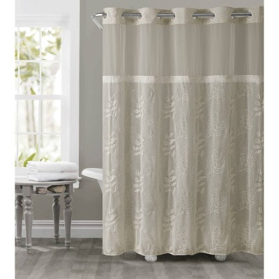palm leaves shower curtain with liner tan hookless