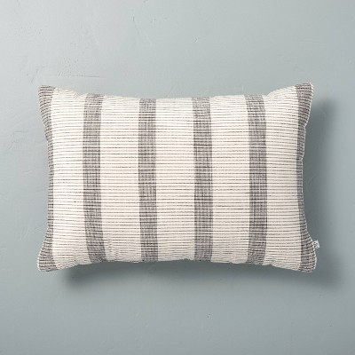 14 x 20 bold textured stripe lumbar throw pillow sour cream railroad gray hearth hand with magnolia