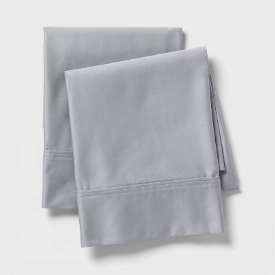 standard 800 thread count solid performance pillowcase set light gray threshold signature