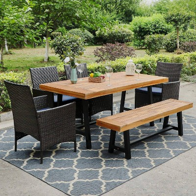 6pc patio dining set with acacia table bench 4 pe rattan chairs captiva designs