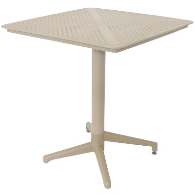 sunnydaze 28 square plastic all weather commercial grade indoor outdoor patio dining table with foldable design tan