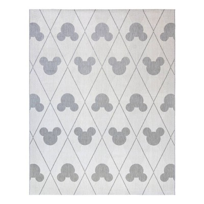 5 x7 mickey mouse and friends argyle outdoor rug gray