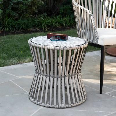 millani round outdoor portable patio side table aiden lane