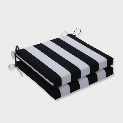 20 x 20 x 3 2pk cabana stripe squared corners outdoor seat cushions black pillow perfect
