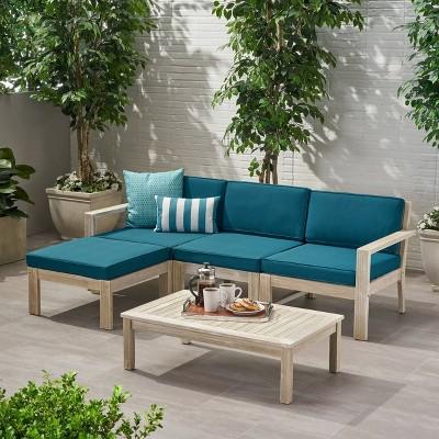 5pc santa ana acacia wood patio sofa sectional set light gray teal christopher knight home