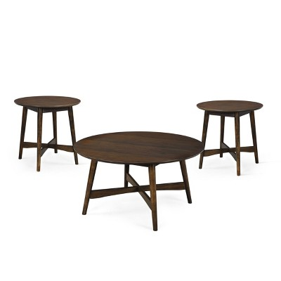 behrens mid century modern wood coffee table and 2 end tables gray christopher knight home