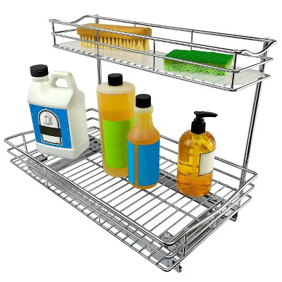 lynk professional 11 5 x 21 slide out under sink cabinet organizer pull out two tier sliding shelf