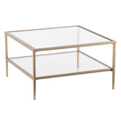 emerson square open shelf cocktail table gold aiden lane