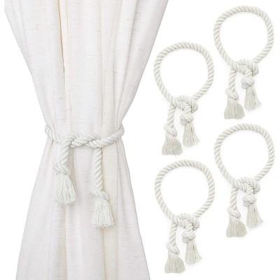 4 pack white cotton window curtain tiebacks tie back 29 holdbacks rope for drapes