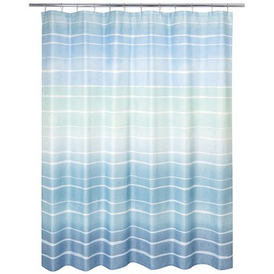 metallic ombre striped shower curtain blue allure home creations
