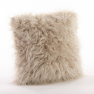 18 poly filled faux mongolian fur pillow oatmeal saro lifestyle