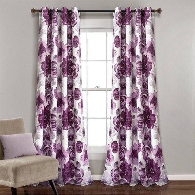 set of 2 95 x52 leah grommet top room darkening curtain panels gray purple lush decor
