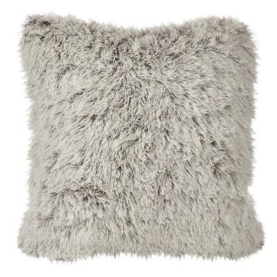 cream juneau two tone faux fur throw pillow 18 saro lifestyle
