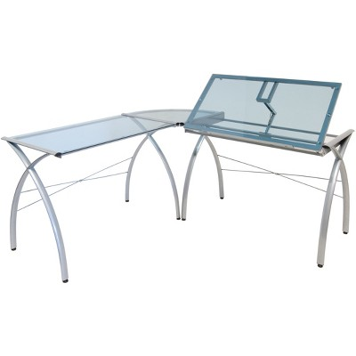 futura l shaped desk with adjustable top silver blue glass